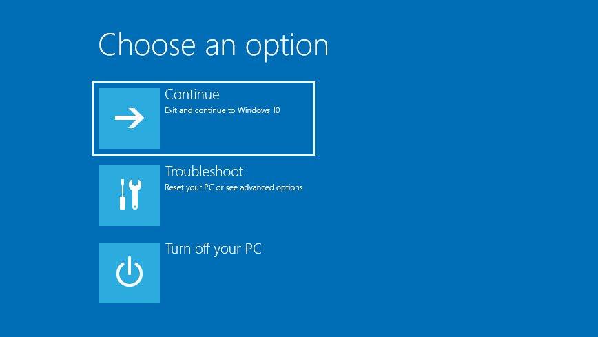 Windows 10 recovery environment