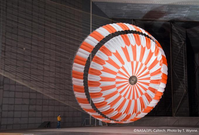 The parachute was tested extensively in a wind tunnel.  © T. Wayne.  NASA
