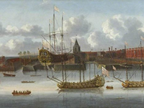 Oil on canvas painting 'East India Company Ships at Deptford', collection Royal Museums Greenwich (public domain, Wikimedia Commons)