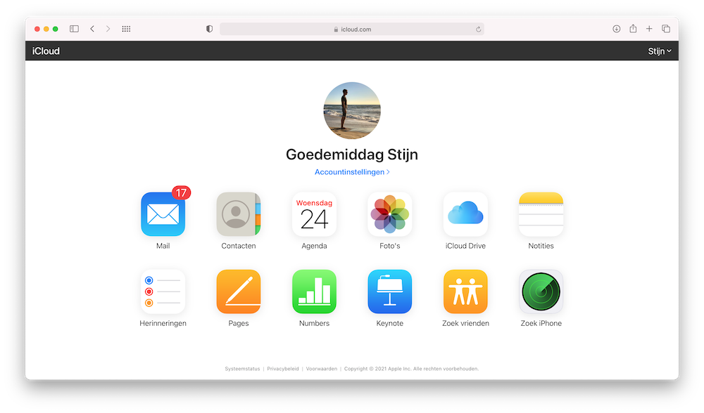 Web access to iCloud-mac