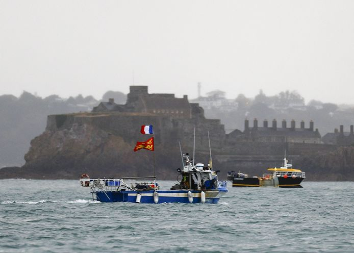 French fishing boats off the coast of Jersey