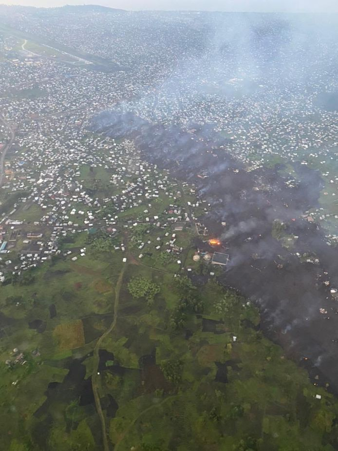 One of the lava flows reached the far corners of Goma.