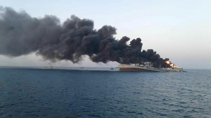 Earlier today, an Iranian navy ship sank as a result of a fire.