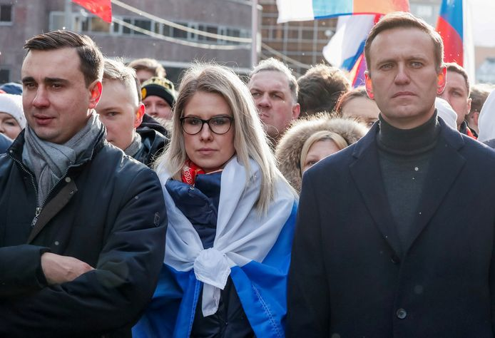 Alexei Navalny in February 2020 with Ivan Yadanov during a protest rally in Moscow.  Also shown in the photo is 33-year-old lawyer Lyubov Sobol.  She was recently sentenced to restrict freedom of movement.