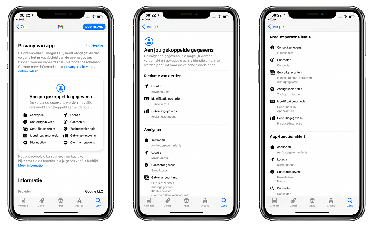 Gmail app now with privacy label