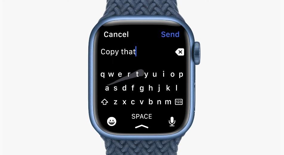 Apple Watch Series 7 keyboard with swipe.