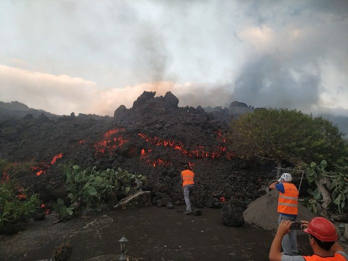 Houses on the island are buried under molten rock.
